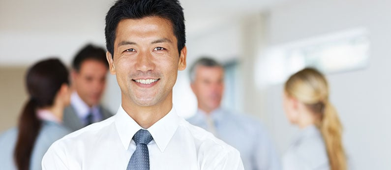 Close-up of a professional business person wearing a shirt and tie. Get a new career, start your QuickBooks Certificate Course at CCBST.
